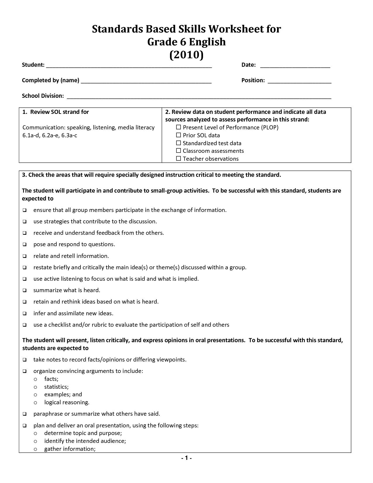 17 Best Images of English Grammar Worksheets Grade 6 Free 6th Grade English  Worksheets 6th - Great 17 Best Images …   Verb worksheets [ 1650 x 1275 Pixel ]