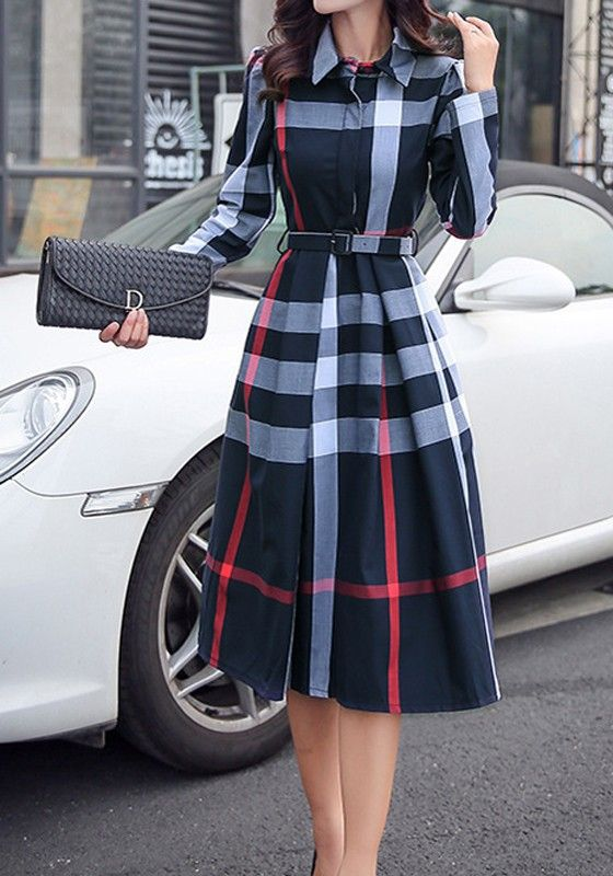 b488409fdf Navy Blue Plaid Belt Turndown Collar Long Sleeve Midi Dress I would  definitely wear this