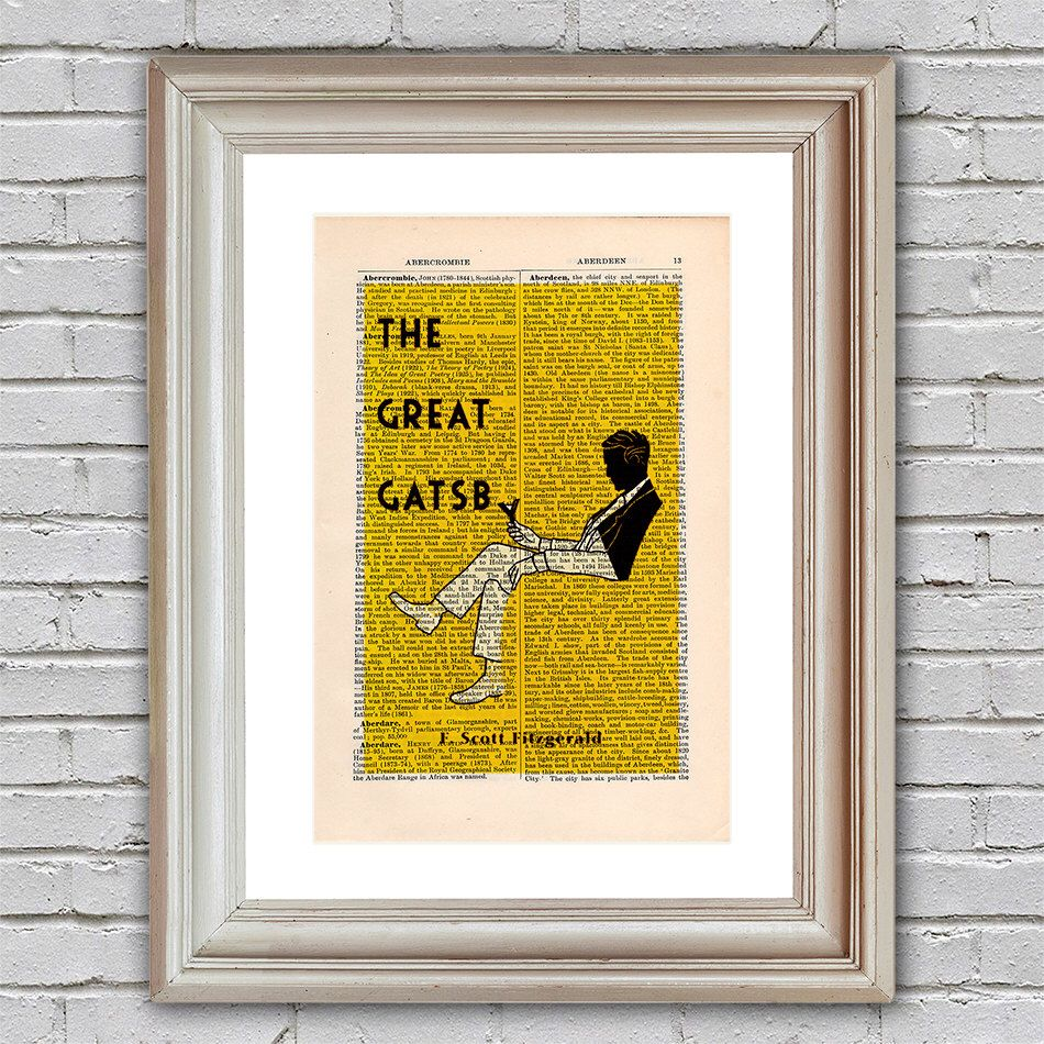 The Great Gatsby Print on an upcycled vintage encyclopaedia page ...