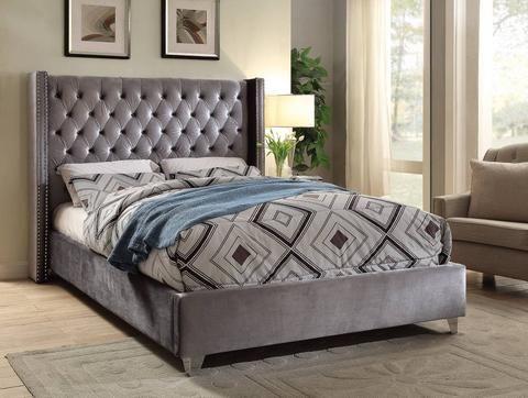 Meridian Aiden Grey Velvet King Bed Aidengrey K Panel Beds