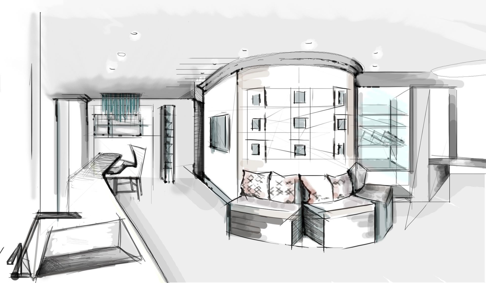 Interior Design Development Kitchen Sketch Outlining Proposed Layout Completed By London