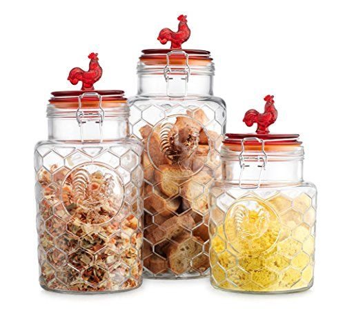 Rooster Canisters Set Of Three 3 Round Clear Glass Hermetic Sealed Impressive Kitchen Jar Set Review