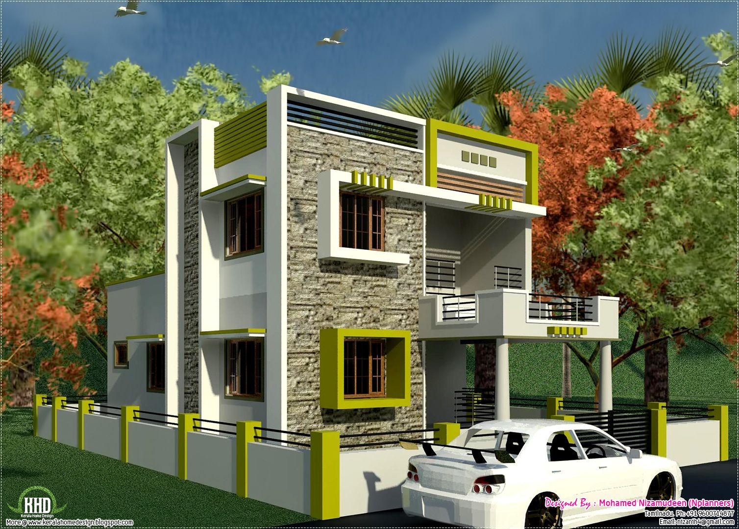 Image result for small house with car parking construction for South indian model house plan