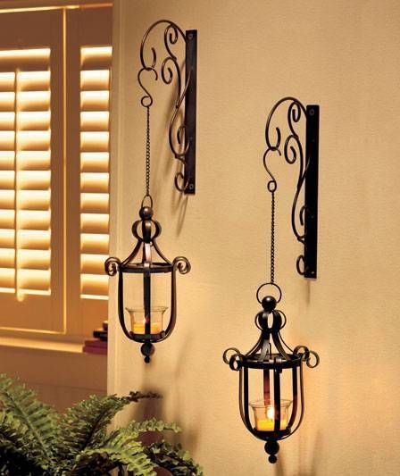 new scrollwork wall mounted hanging candle lanterns wall sconce black or bronze