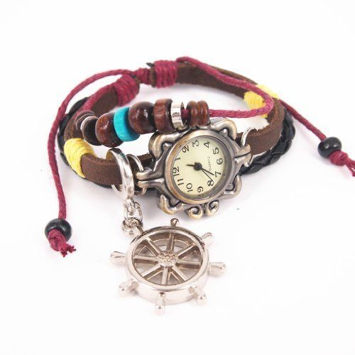 Leather Belt Watch with Helm Pendant and Wooden B ($19.98)