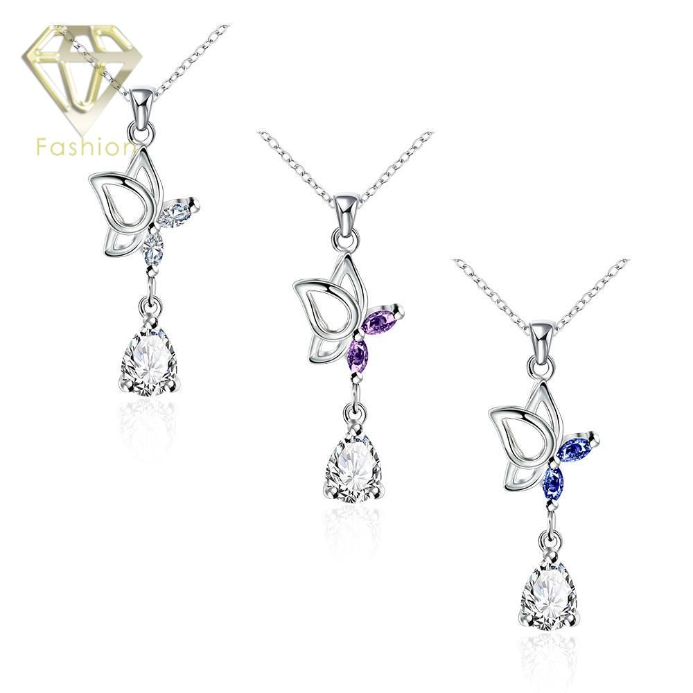 >> Click to Buy << My Necklace Cute Blue/Purple/White Crystal Butterfly Hanging Cubic Zircon Water Drop Pendant Silver Plated Necklaces for Women #Affiliate