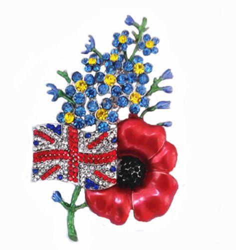 Large-Distinctive-Poppy-Flower-Forget-Me-Not-UK-Flag-Symbolic-Brooch-Pin-BR210