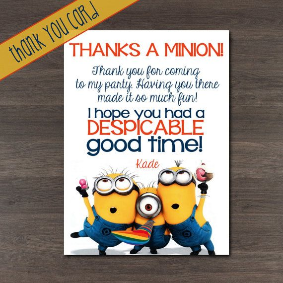 Despicable Me Minions Movie Custom Birthday Party Thank You Cards