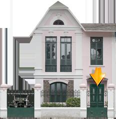 Fachadas | Casa do Rio Casa de dois pavimentos com sótão - Início do século XX Lotes passam a ter testada maior e profundidade menor / Jardim frontal / Portão de acesso para automóveis / Telhado de ardósia