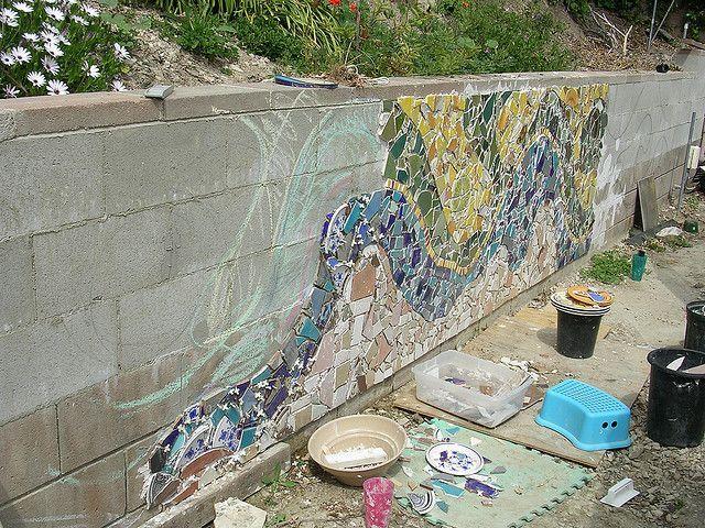 mosaic cinder block wall - Google Search | Mosaic garden art on Backyard Cinder Block Wall Ideas  id=71206