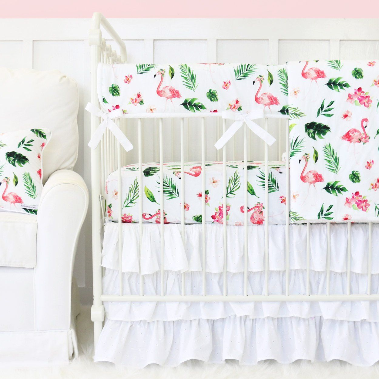Pink Tropical Palm Flamingo Baby Crib Bedding