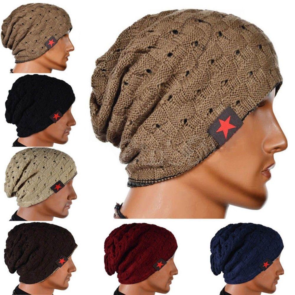 a424742d Pcs Baggy Warm Men Hat Women Hat Snow Caps Reversible Beanie Hat Winter  Autumn