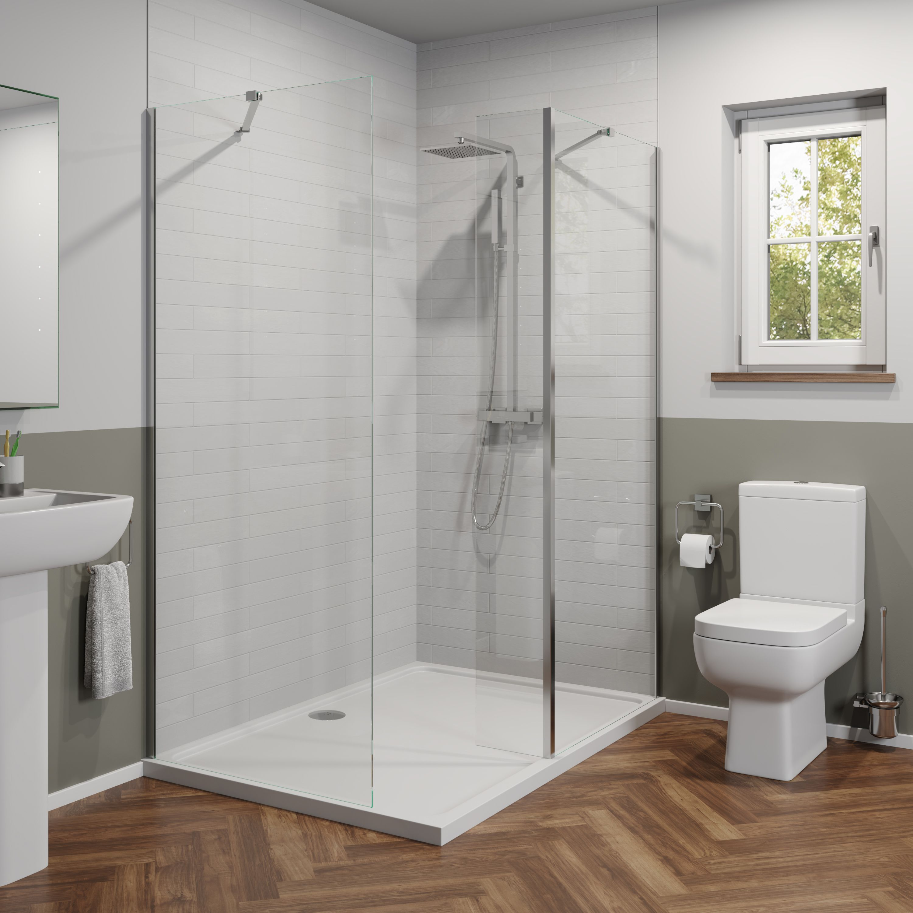 Luxura 1400x900mm Walk In Shower Enclosure 6mm Glass With Podium