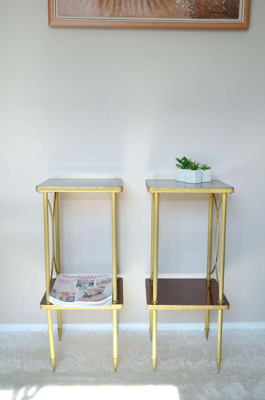 Tables De Chevet En Formica Et Laiton Dore Style Maison Bagues
