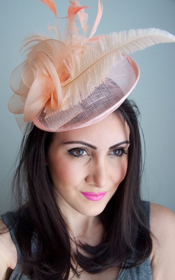 Peach Fascinator Kate Mesh Couture English Hat by EyeHeartMe  12c8c9608227