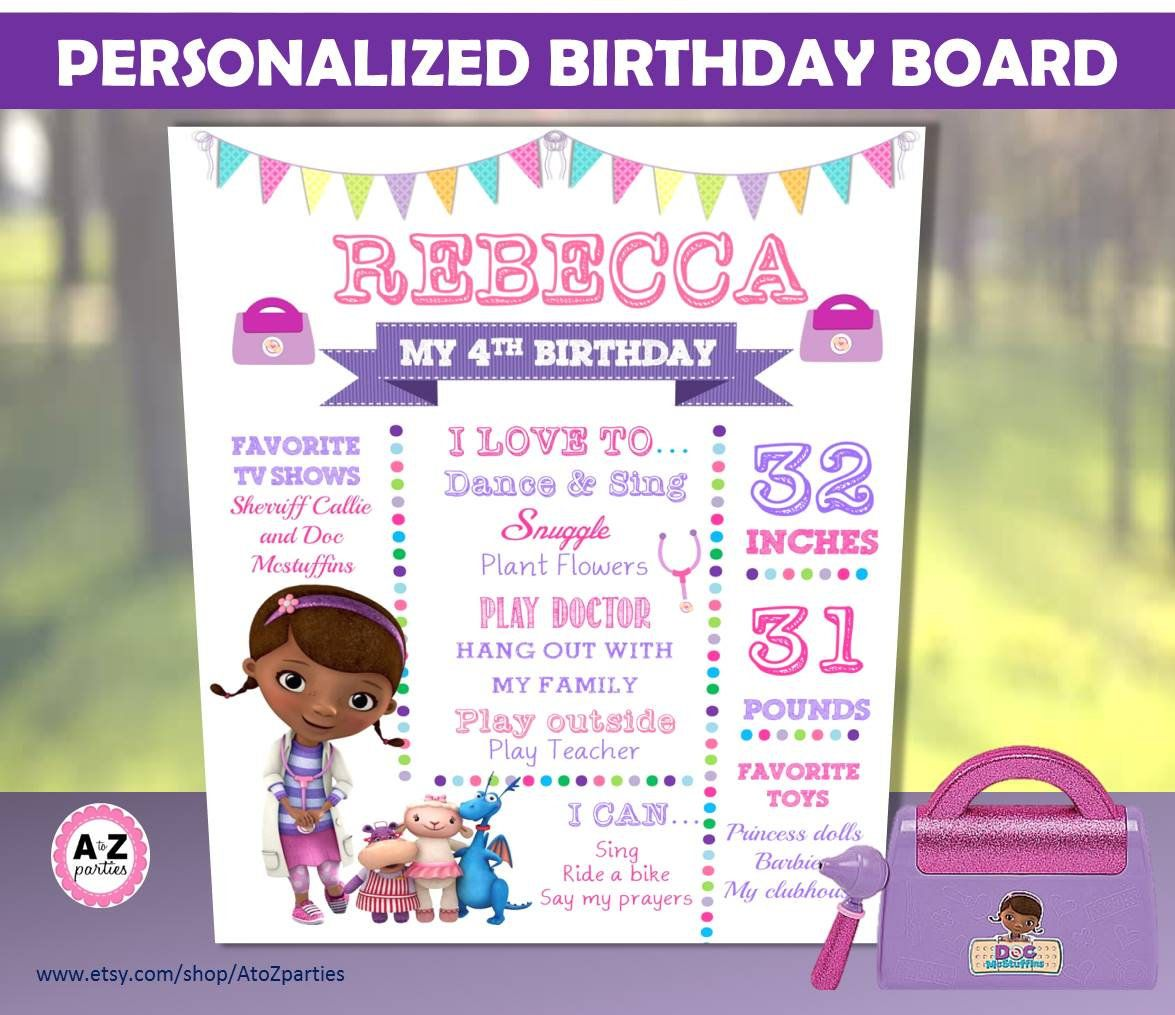 Doc McStuffins Birthday Board, Any Age, Favorites Poster, Doctor ...