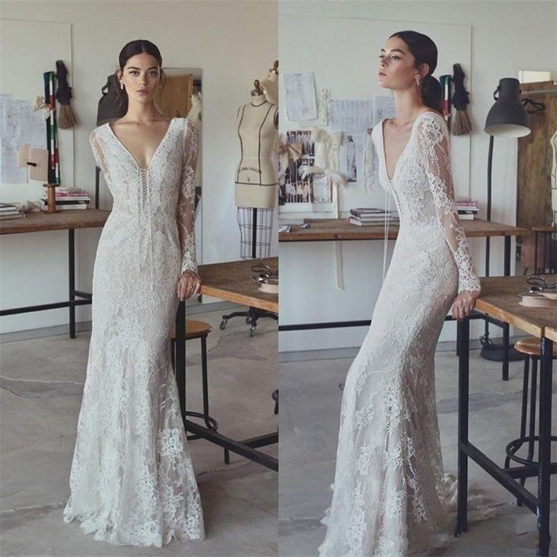 Simple V Neck Long Sleeve Lace Sheath Wedding Dress Long Bridal