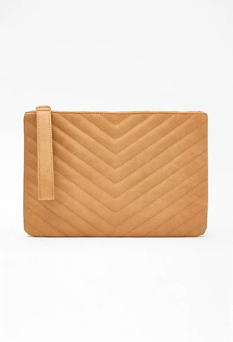 6b9988e5150e Chevron-Quilted Faux Leather Clutch
