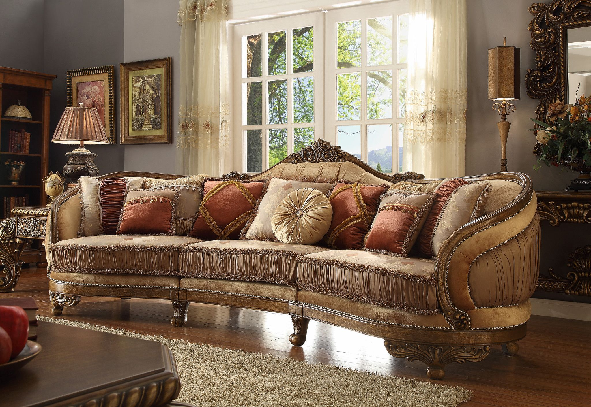 Homey Design HD 458 Traditional Vienna Wood Trim Mansion Sofa