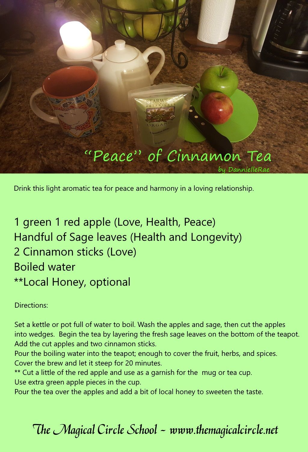 Cinnamon Apple Tea  Kitchen Witch  Peace Spell  Love Spell  By  Danniellerae