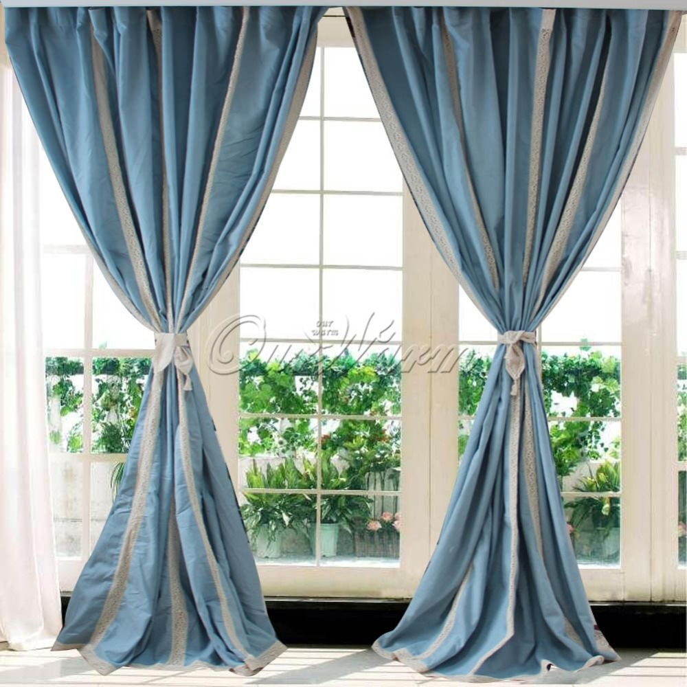 French Country Blue Cotton Linen Crochet Lace Curtain Modern Living Room Curtains And Valances Home Supplies