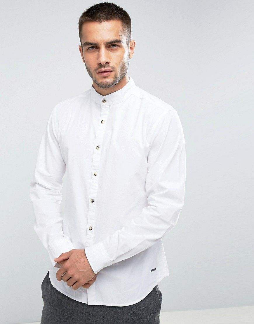 I know you want this Esprit Shirt in Slim Fit With Grandad Collar - White - 483fab559