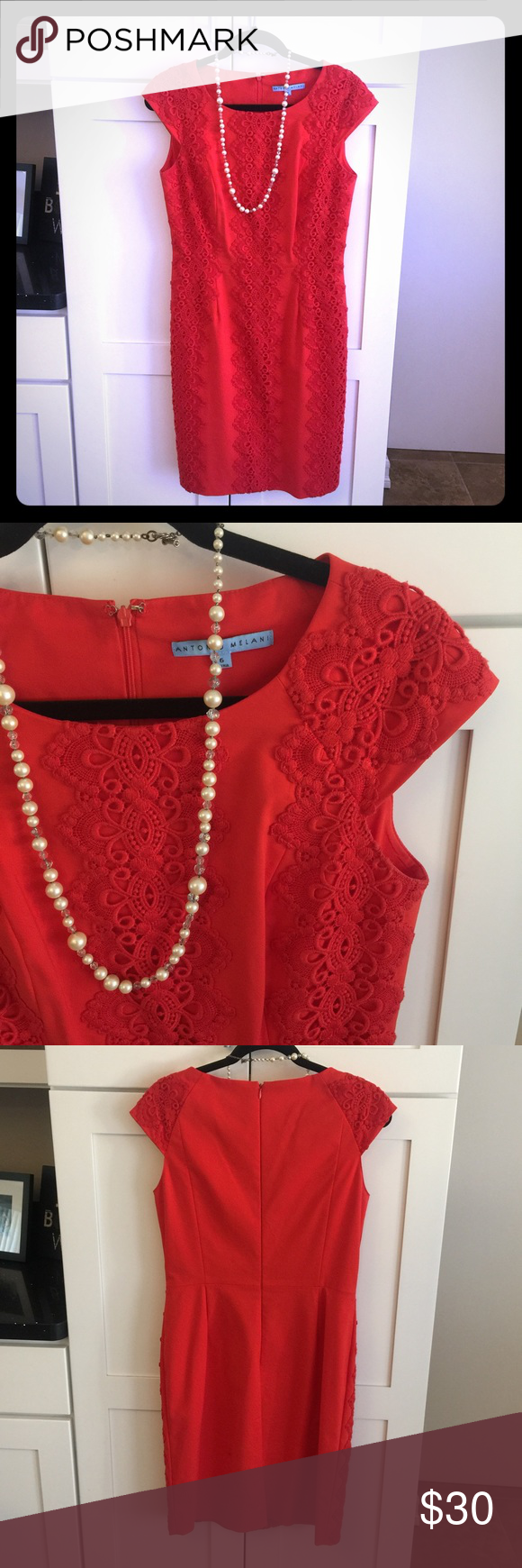 Coral Embroidered Sheath Dress Form fitting - perfect condition. Fits like a big 8. ANTONIO MELANI Dresses