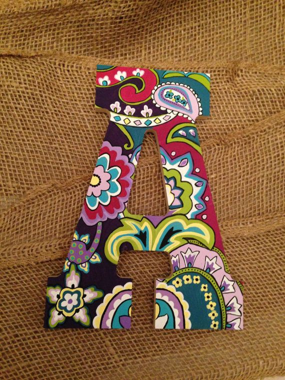8 Hand Painted Wooden Letter Vera Bradley By Kindasouthern Wooden Letter Designs Pinterest