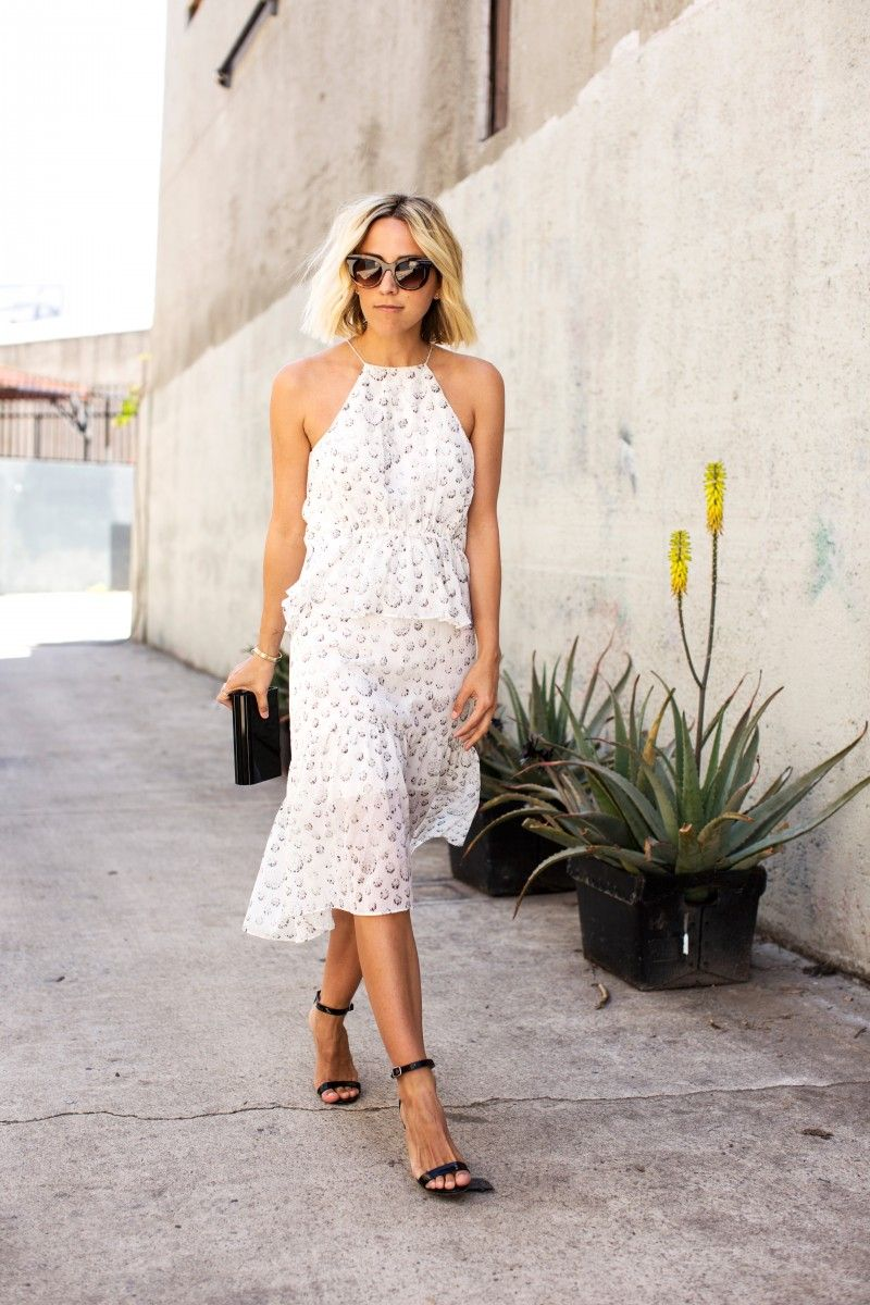 summer dress, sunnies & black strappy heels.