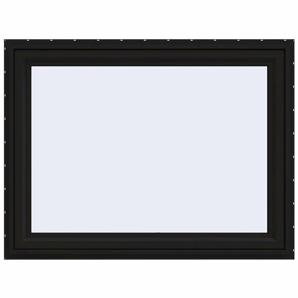 Jeld Wen 48 In X 36 In V 4500 Series Black Finishield Vinyl Awning Window With Fiberglass Mesh Screen Window Awnings Mesh Screen Window Types