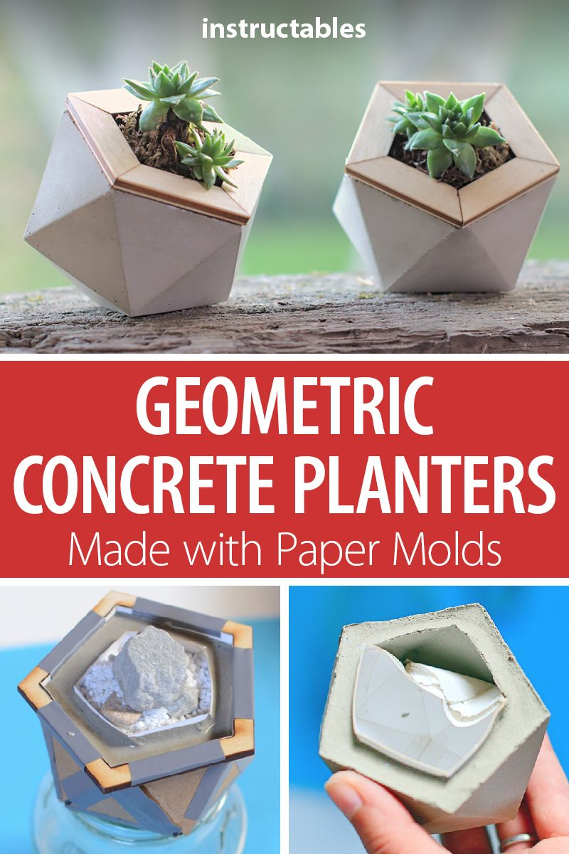 Geometric Concrete Planters Made With Paper Molds Concrete