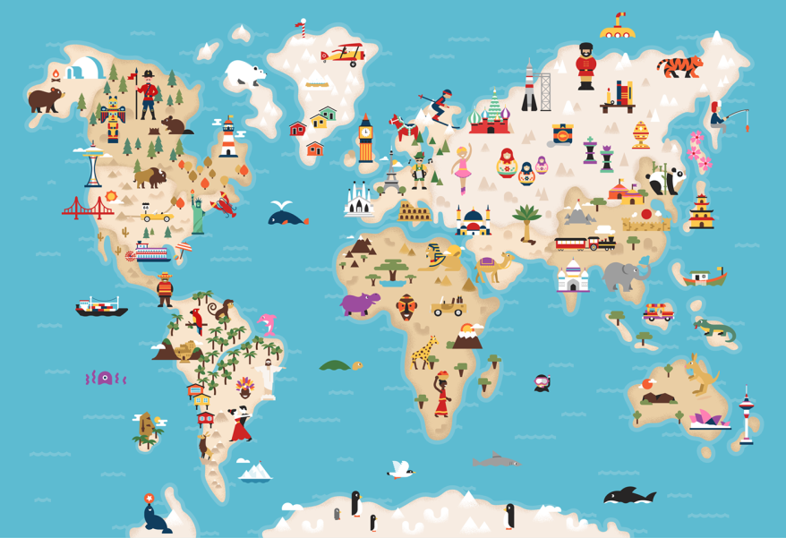 What a gem of an illustrated world map inspiring ideas pinterest what a gem of an illustrated world map gumiabroncs Image collections