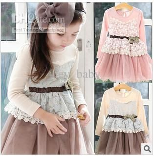 Girls long sleeve dresses bowknot dresses veil dresses free ...