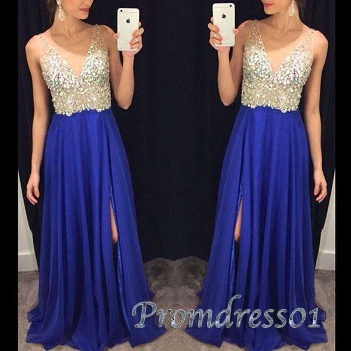 Pretty vneck long prom dress royal blue chiffon beaded prom