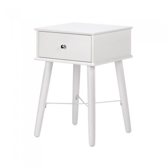 Accent Plus 10017523 Modern Chic Side Table is part of Home Accessories Styling Side Tables - Your hunt for the perfect accent table ends right here! This charming white lacquer table has long legs, a single drawer, and classic style that complements any room  It's the perfect accessory to place next to your bed, your sofa, and more