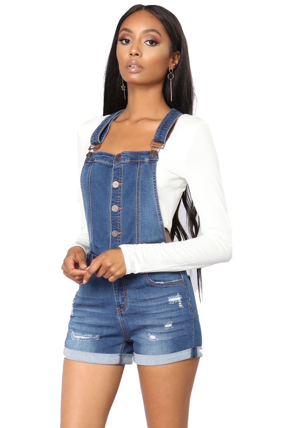 Destroyed Blue Shorts Overalls Women's Clothing