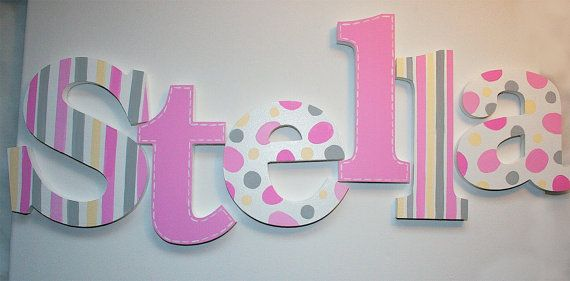 Pink Stripes, Polka Dots and Stitched Wooden Wall Name Letters