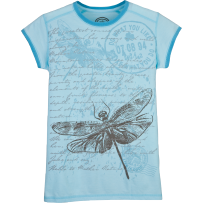 Womens Airbrush Tee Dragonfly, Bchhse Blue  #lifeisgood