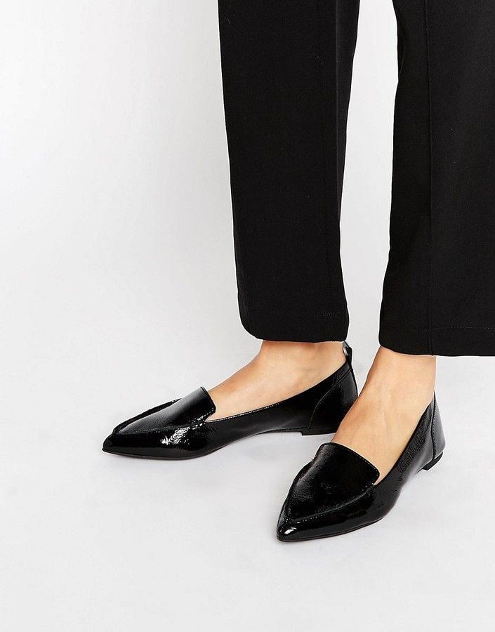 581890196c Aldo Bazovica Point Leather Flat Shoes | Products | Shoes, Black ...