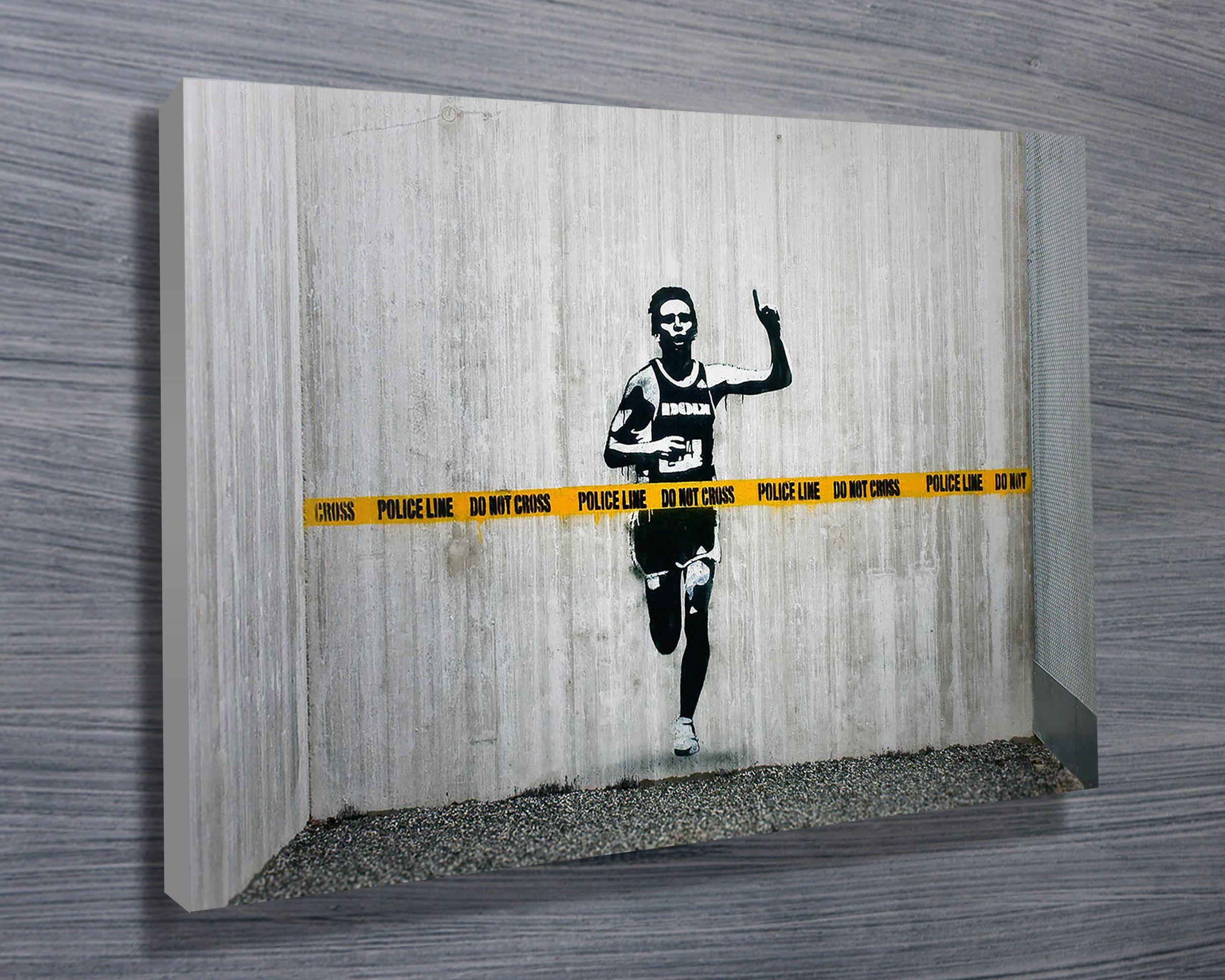Cross the line banksy street art canvas from blue horizon