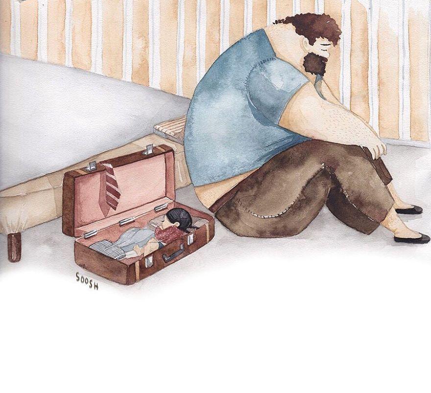 Картинка, папа с дочкой картинки рисованные
