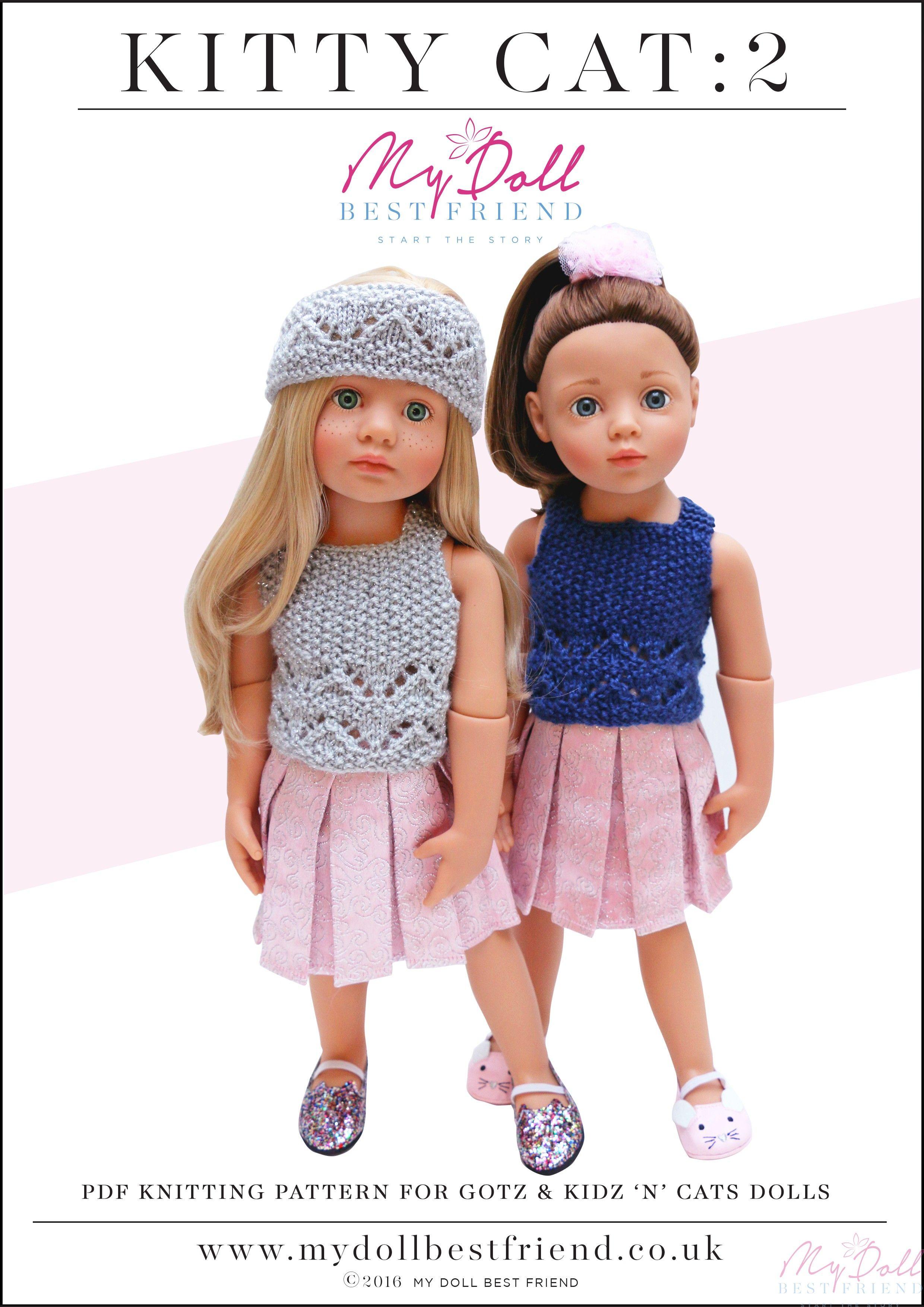Doll Knitting Pattern 45-50cm: Kitty Cat 2 | Kidz n Cats | Pinterest ...