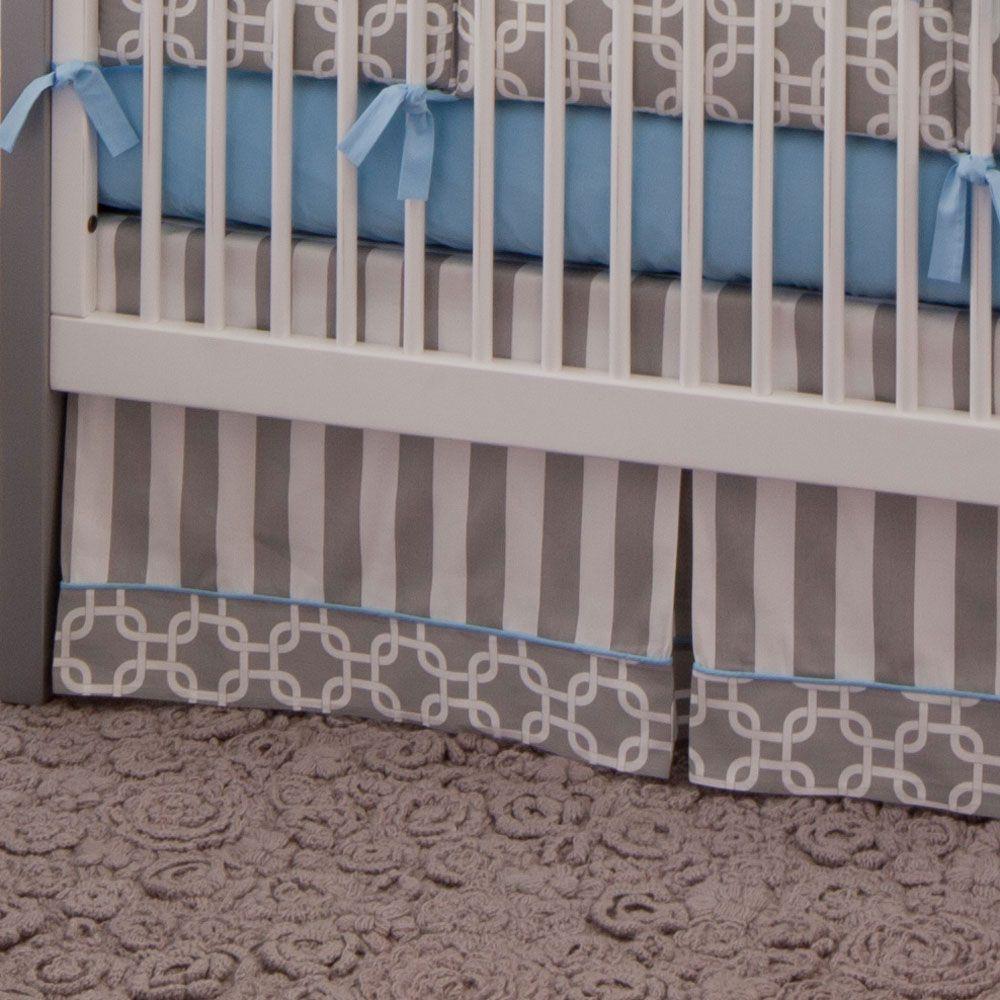 Gray Geometric Crib Skirt Box Pleat from Carousel Designs ...