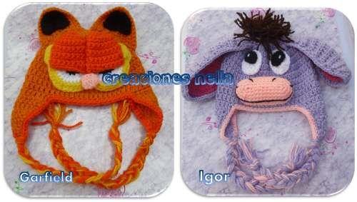df4878fc86e65 Gorros Tejidos De Animales Para Bebés