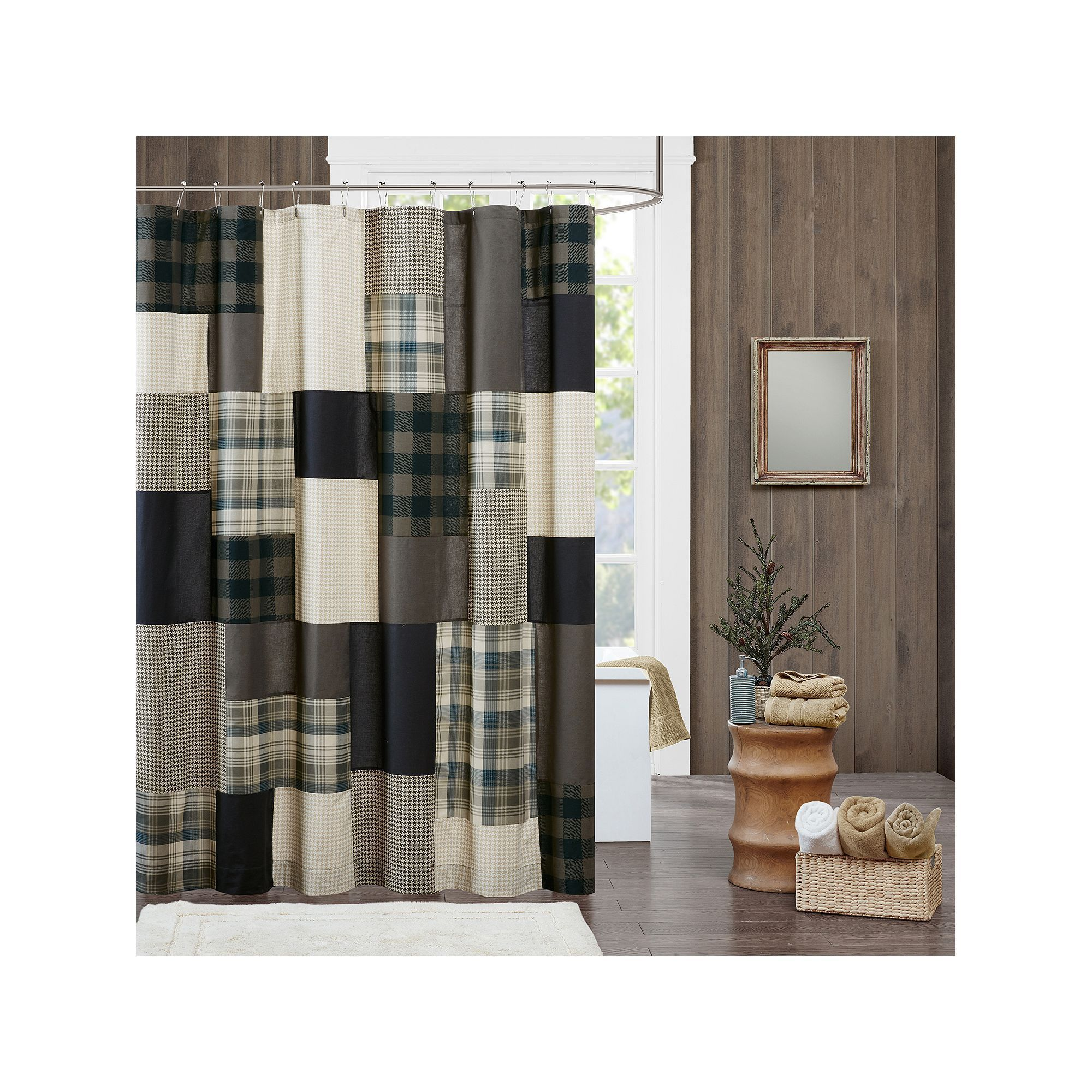 Woolrich Winter Hills Shower Curtain Beig Green Beig Khaki