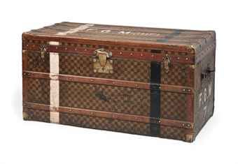 A STEAMER TRUNK IN CHEQUERBOARD CANVAS - This antique #Moynat steamer trunk could make a pretty storage area for shoes!