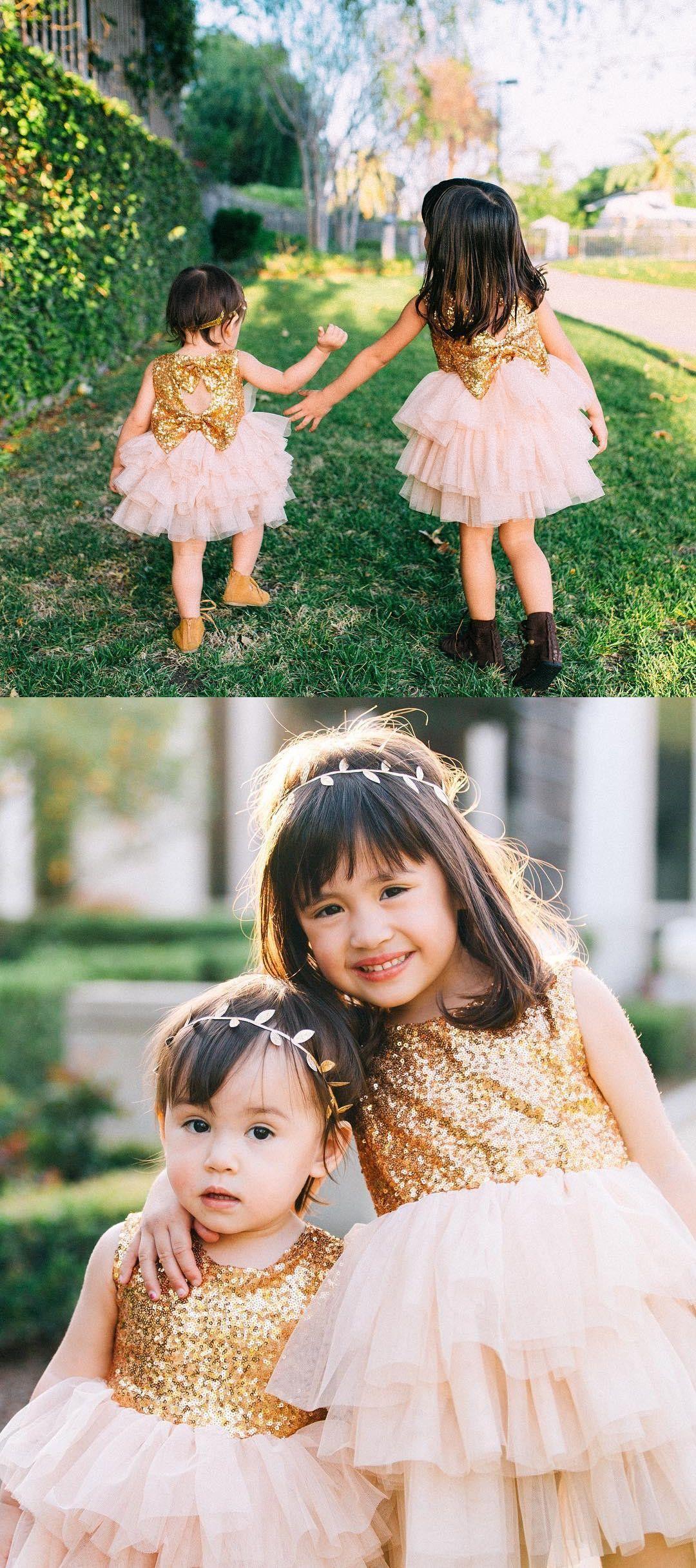 Princess gold sequins top pink flower girl dress from modseleystore