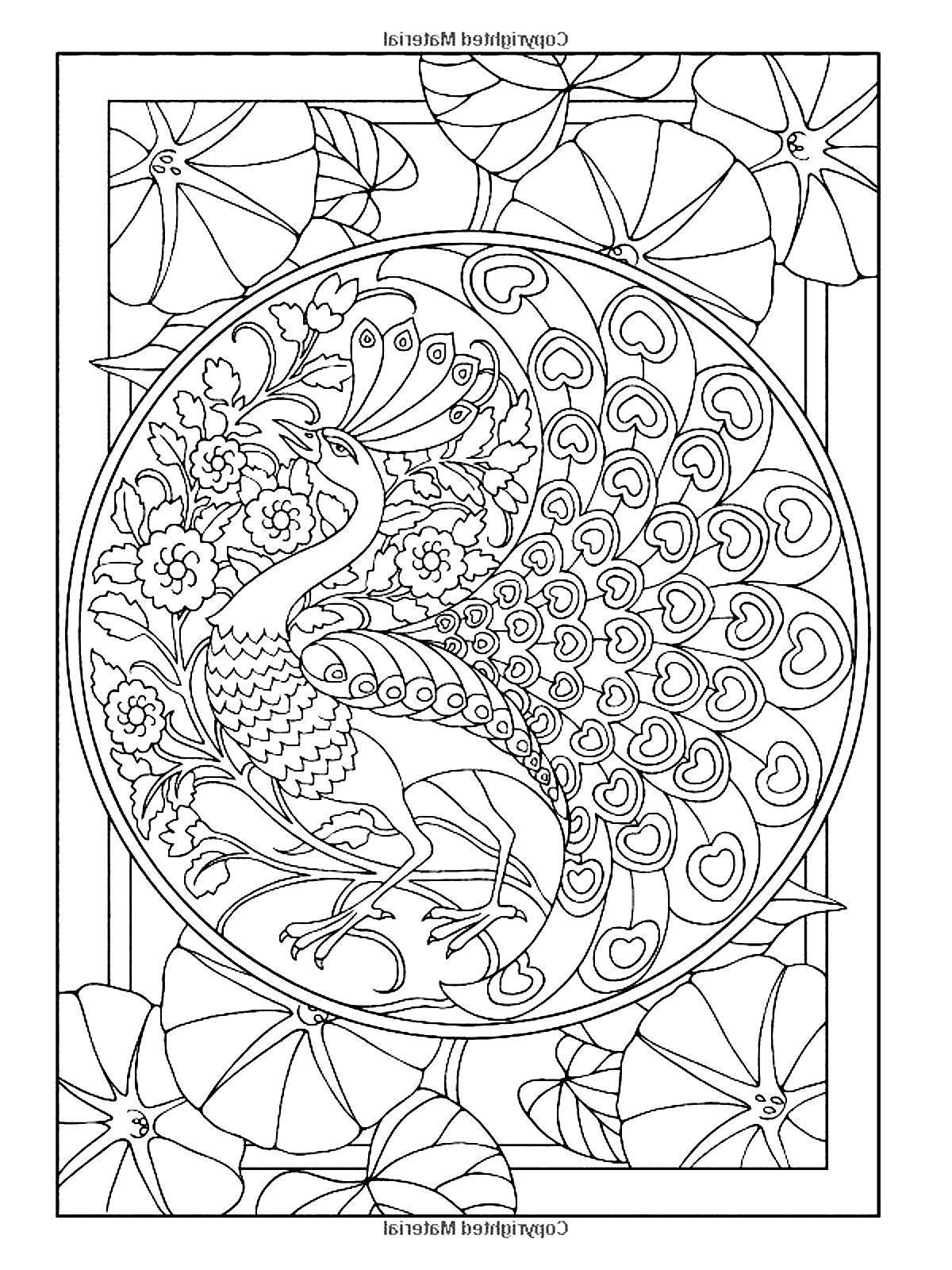 free printable peackoxk mosaic art coloring pages | Free coloring page «coloring-adult-art-nouveau-style ...
