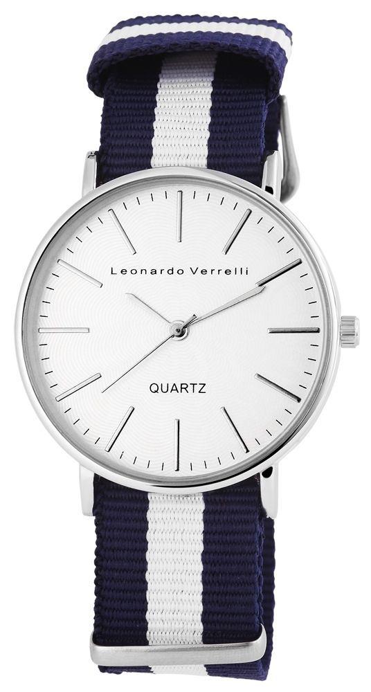 Damenuhr Leonardo Weiß Verrelli Uhr Blau Textilband AjL5c3RS4q