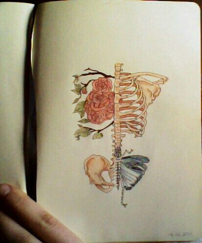 de79f2e8ed79d Skeleton, rib cage, rose, flowers, tattoo, copic, butterfly, drawing, art  By Ana Gonçalves
